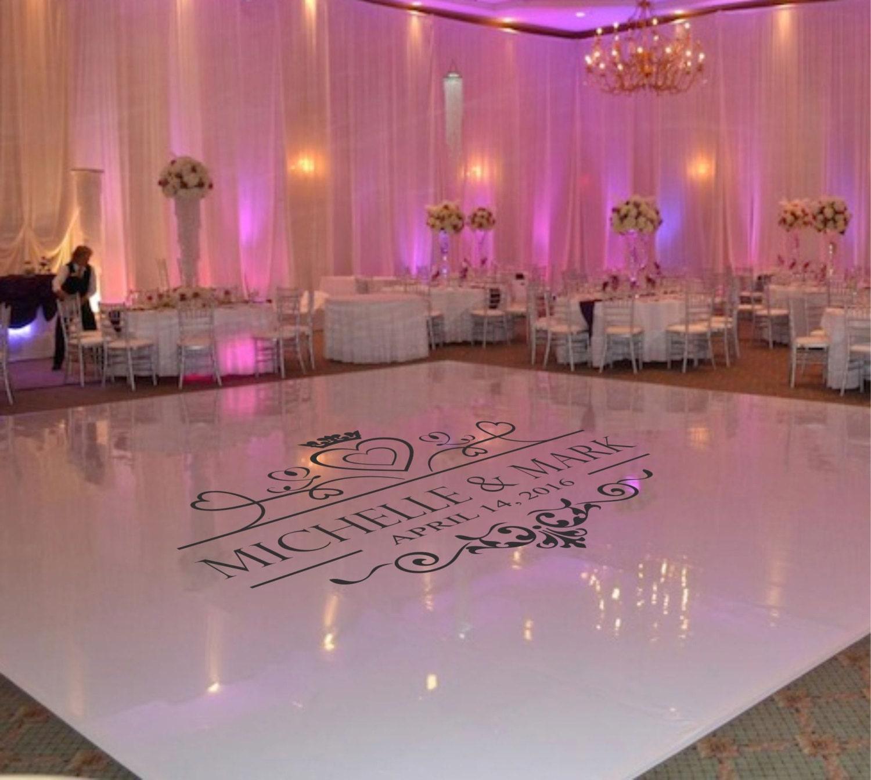 Wedding dance floor decal wedding floor monogram vinyl floor for Monogram decor