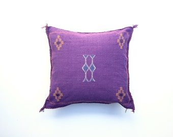 Purple Moroccan Cactus Silk Pillow Cover Sabra Silk Cushion Cover Embroidered Pillow 20 x 20