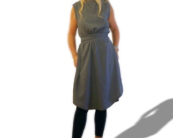 Gray dress lagenlook style with unique hand Sashiko embroidery front, sleeveless linen cotton dress*summer dress knee length  Large size