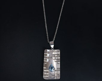 Blue topaz necklace Hand engraved japanese checkered pattern pendant