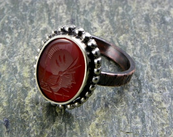 Ring SPQR - ancient Rome Seal - silver & copper - made in italy