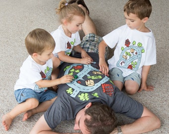 Race Track Shirt XL Gift for Dad Christmas Gift from Kids Road Map T Shirt Gift For Him. Car Play Mat. Christmas Gift for Dad Grandfather