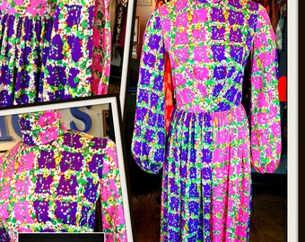 Vintage Pink Purple Green Floral Jersey Dress Split Sleeves FREE SHIPPING
