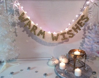 Warm Wishes Glittering Fringe Banner  | gold glitter banner, holiday decor, glitter letters, christmas decor, holiday party, New Years party