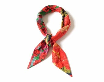 Charming red floral Liberty prints bandana cotton scarf in a rose bush print and madras check, reversible triangle scarf