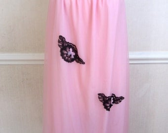 Vintage 1960s Pink Babydoll Nightdress | 60s Pink and Black Nightie
