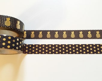 Black Gold Foil Pineapple Washi Tape Combo
