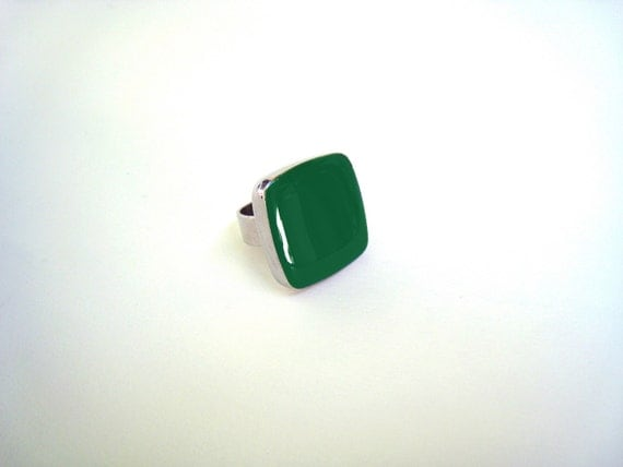 Green ring, emerald green resin ring, green glass ring, big chunky square ring, green cocktail ring, modern minimalist, color block jewelry