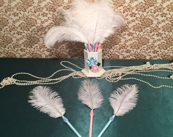 6 Feather Pens Gender Reveal Baby Shower Favors Party Decorations Boy/Girl Baby Shower Decoration Gender Reveal Party Baby Shower Game Favor