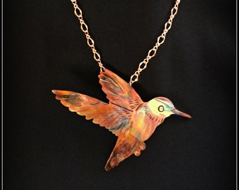 hummingbird necklace, hummingbird pendant, hummingbird jewelry, copper hummingbird, flame painted copper, painting with fire, gifts for mom
