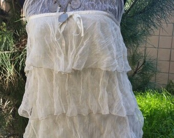 Romantic Girl~Womens Boho creamy beige camisole,Cami Top Cotton lace Blouse size X small