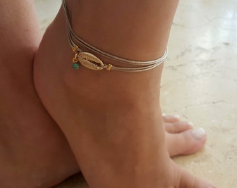 Gold Anklet - Gold Ankle Bracelet - Beaded Anklet - Foot Jewelry - Foot Bracelet - Chain Anklet - Summer Jewelry - Beach Jewelry