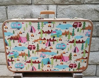 Revamped 1950s Vintage Starfrost Suitcase-Under the Stars Campfire