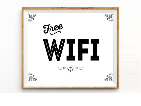 items similar to free wifi sign printable signage instant
