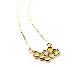 Gold Hive Necklace // Manchester Bee Necklace, Bee Jewelry, Bee Accessories, Manchester Jewelry, Bee Hive Necklace, Bees, Beehive