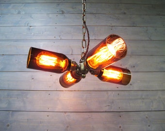 Rustic Chandelier - Beer Bottle Light - Upcycled Glass - Modern Industrial Lighting - Hanging or Flush Mount