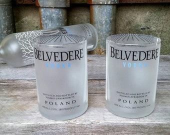 Rocks Glass From Recycled Belvedere Vodka Liquor Bottles, Set of Two