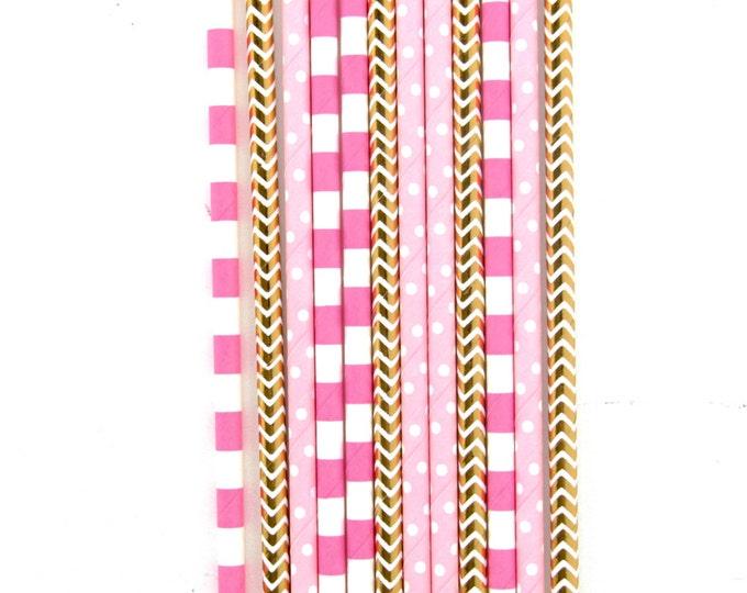 Strawberry Sangria Straw With Gold Flag, Paper Straw, Pink Gold Straw, Gold Straw Flag, Baby Shower or Wedding Straw, Decorative Straw