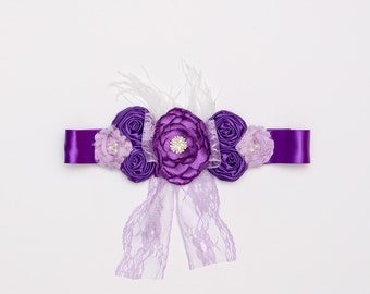 Purple &lavender floral sash, Maternity sash, Bridal sash, Photo prop, Headband set, Ready to ship