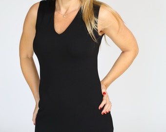 Little black dress casual Bodycon Pencil dress Office knee length dress sleeveless with v neck