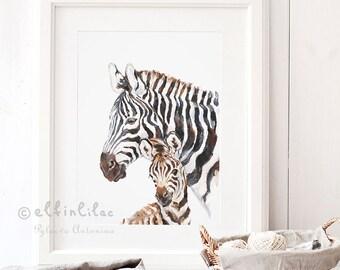 Zebra Nursery Art Zebra Print Safari Nursery Art Safari Animal Print Mom and Baby Zebra Print Zebra Nursery Decor Animal Print for Nursery