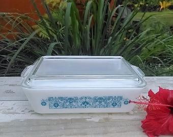 Horizon Blue Pyrex Refrigerator Dish With Lid #503, Vintage Pyrex Dish Blue and White Design, Pyrex Fridge Bakeware