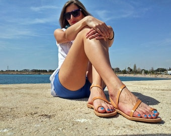 Women's Sandals - Thin Straps Sandals, Nude Sandals - Greek Leather Sandals Flat - Summer Flats. Genuine Leather.