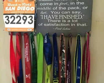 READ SHOP ANNOUNCEMENT Race Bib and Medal Display, Race Bib and Medal Holder, Fred Lebow I Have Finished Race Bib Medal Display, Race Bib