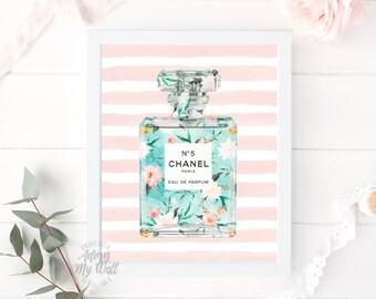 Chanel perfume, no 5 coco art printable floral fashion, no5 Coco chanel, 8x10, chanel print, Chanel art coco chanel