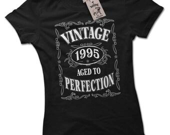 Vintage 1995 21st Birthday Present Ladies Premium Black T-Shirt Choice of 8 Colours Small to 2XL