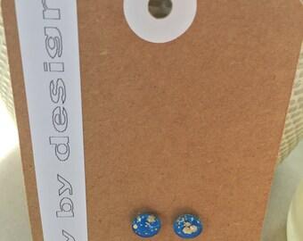 Stud earrings. 8mm.  Bold, bright, unique, fun, eye-catching, cute.  Bright blue.