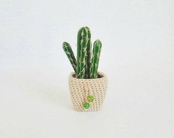 Flower and pot, cactus, miniature flower, artificial plants, planter, crochet pot, home decor, crochet plant cozy, beige planter, for home