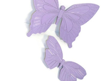 Butterfly Plaques Upcycled to Lavender   Vintage Syrocco Wall Butterflies