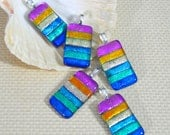 Rainbow Stripes Dichroic Glass Pendant - Large Silver Plated Bail Fitting . Mixed Colour Metallic Finishes 48 x 20mm - Gift Boxed
