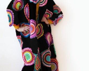 Plus Size Clothing, Trendy Extra long Plus size Coat Cardigan Sweater Black