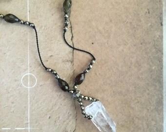 crystal necklace boho style yoga jewelry quartz crystal tourmaline pyrite hand knotted on silk thread