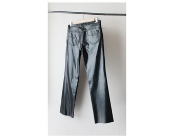 1990's Versace Low Rise Raw Hem Leather Jeans