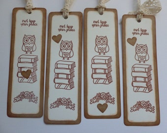 """Owl bookmarks vintage style handstamped vintage inspired stacked books owl flowers """"owl keep your place"""" heart book club gifts - set of 4"""