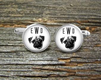 Dog Pug Monogram Cufflinks-Wedding-Jewelry Box-Silver-Gold-Keepsake-Dogs-Groomsman-Groom-Cute Dog-White