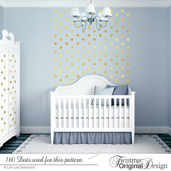 Gold Polka Dots Baby Nursery Wall Decor Gold Dot Wall Decals - Wall decals gold dots