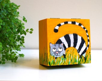 CAT JEWELRY box with cats Jewellery box Cat Trinket box Keepsake box Cat lover gift Wooden box Hand painted jewery box Treasure box