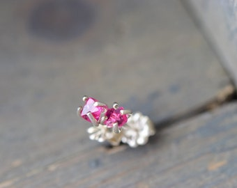Pink Spinel Earrings. Natural Raw Stone Studs. Pink Stones on Sterling Silver. Delicate Simple August Birthstone.