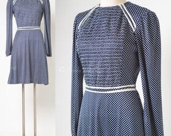 Mod Dress, Vintage Blue Dress, 60s dress, Mad Men Dress, Vinage Swiss Dot Dress, 60s mini dress, 60s Blue Dress, Mod mini dress - S/M