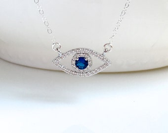 Silver Blue Evil Eye Necklace, Gold Evil Eye Charm Necklace, Gold Evil Eye CZ Necklace