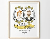 Custom Portrait Art, Couple Portrait, Anniversary Art Print,  Anniversary Gift, Wedding Gift - Unframed
