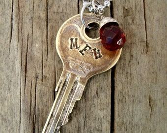 MEH Key Necklace – Engraved Key Necklace – Hand Stamped Key Jewelry – Stamped Key Necklace – Vintage Word Key