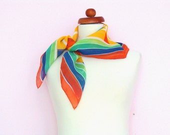 Vintage 1960's colourful scarf / blue red green yellow / mod / spring summer scarf