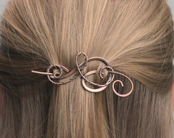 Hair Clip Women, Hair Barrette, HairPin, Hair Stick, Small Copper Wire Wrapped, Copper Jewelry, Hair Accessories for Women Gift for Her