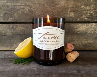 Lemongrass Scented, Wine Bottle Candle, Soy Candle, Eco Friendly, Upcycled Wine Bottle, Hand Poured, Wine Gifts for Her, Mother's Day Gifts
