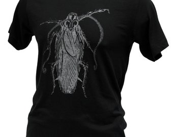 Creepy Roach Insect Tentacles Graphic Tee, Unique Mens Gift, Mens Screen Print Black Cotton Tshirt